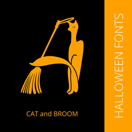 Halloween design vector font letter A consist of cat and broom. Spooky and Magical Alphabet