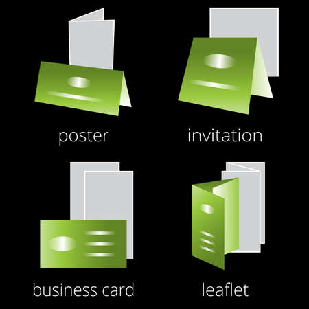 prepress: Printing shop services green icons set with greeting card, postcard, invitation and brochures isolated on white background. Part 2 Illustration