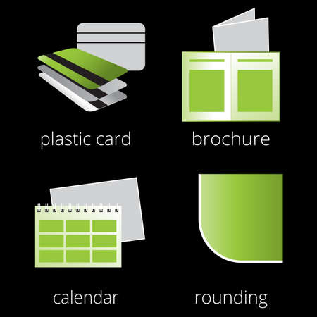 rounding: Printing shop services green icons set with plastic loyalty cards, calendar, brochure and rounding isolated on white background. Part 3