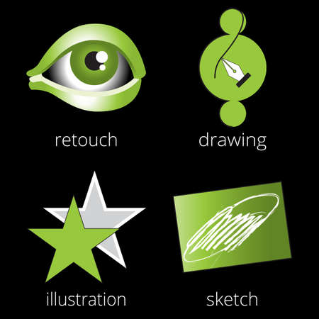 retouch: Printing shop services green icons set with retouch, drawing, star and sketch isolated on white background. Part 4