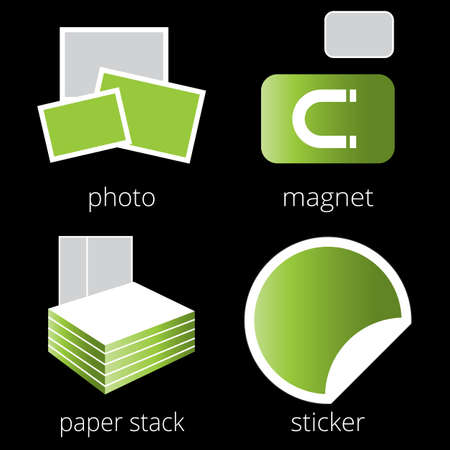 paper stack: Printing shop services green icons set with photo, magnet, paper stack and sticker isolated on white background. Part 5
