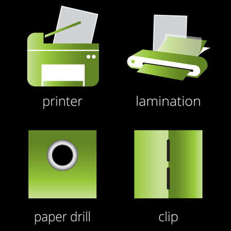 mfp: Printing shop services green icons set with printer, MFP, scanner, laminator isolated on white background. Part 6