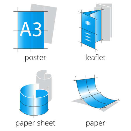 Printing shop services blue icons set with poster, flyer and leaflet isolated on white background. Part 1