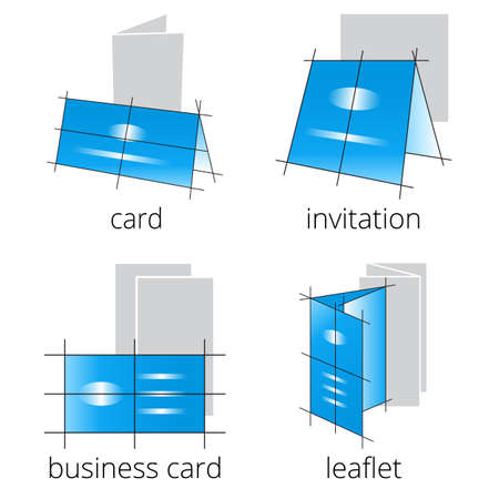 Printing shop services blue icons set with greeting card, postcard, invitation and brochures isolated on white background. Part 2