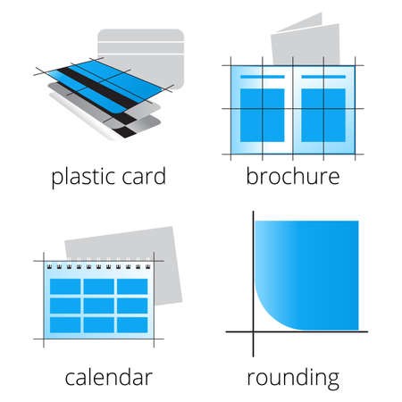 rounding: Printing shop services blue icons set with plastic loyalty cards, calendar, brochure and rounding isolated on white background. Part 3 Illustration
