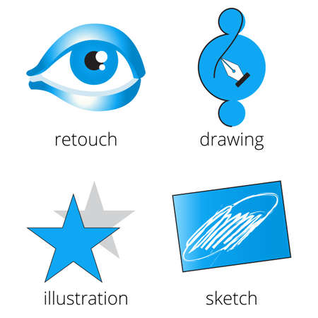 retouch: Printing shop services blue icons set with retouch, drawing, star and sketch isolated on white background. Part 4