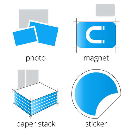 Printing shop services blue icons set with photo, magnet, paper stack and sticker isolated on white background. Part 5 Vetores