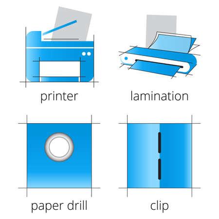 imprenta: servicios de la tienda de impresi�n iconos azules se establece con la impresora, la impresora multifunci�n, esc�ner, plastificadora aislado sobre fondo blanco. Parte 6