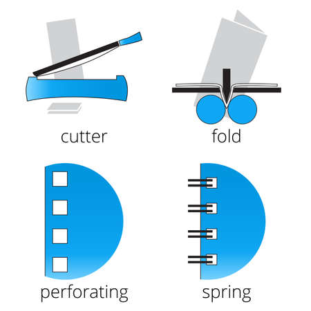 bind: Printing shop services blue icons set with cutter, fold machine isolated on white background. Part 7