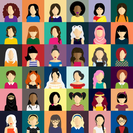 niqab: People icons set in flat style with faces. Vector avatars with women and girls character