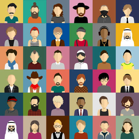 afro arab: People icons set in flat style with faces. Vector avatars with men and boys character Illustration