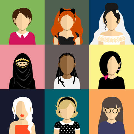 yashmak: People icons set in flat style with faces. Vector avatars with women and girls character