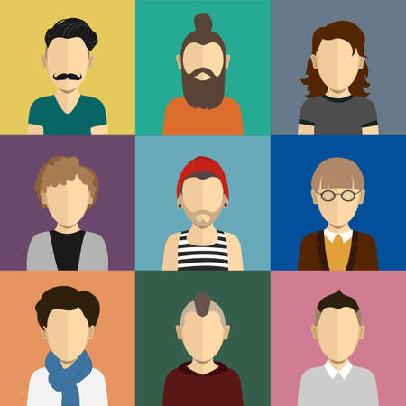 People icons set in flat style with faces. Vector avatars with men and boys character Illustration