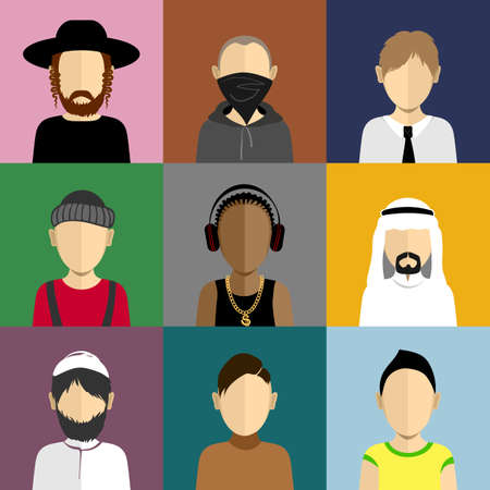 jewry: People icons set in flat style with faces. Vector avatars with men and boys character Illustration