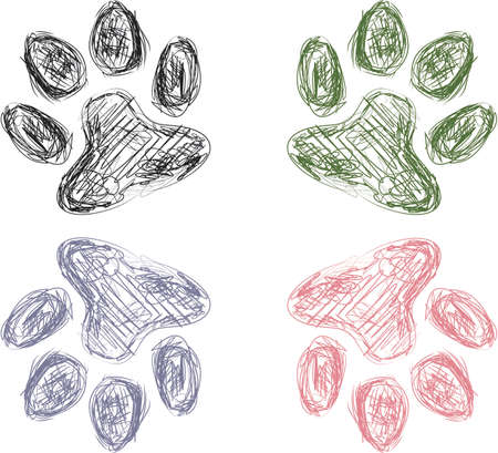 Colorful Sketch of Four Animal Paw Prints Vector