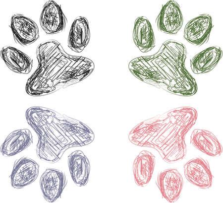 animal paw prints: Colorful Sketch of Four Animal Paw Prints