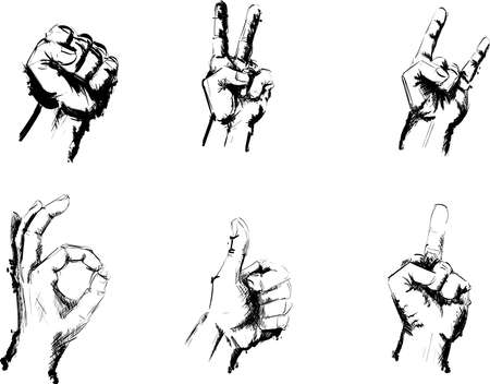 one finger: Black and White Hand Gesture Signs Sketch