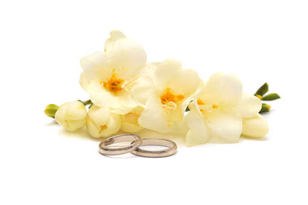 Two wedding  rings of platinum and tender flowers  on a white background