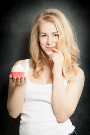 un healthy: Woman with Cake Stock Photo