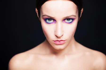femme fatale: Glamorous Woman with Fashion Makeup Stock Photo