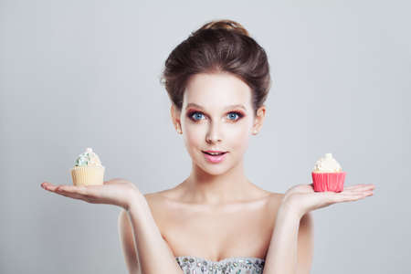 un healthy: Woman Holding Sweet Snack Stock Photo