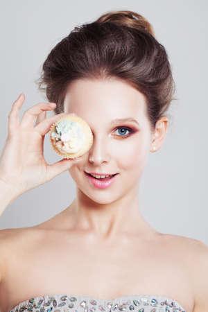 Happy Girl holding Sweet Cake
