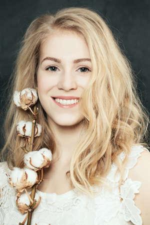 elegance: Elegance blonde woman smiling Stock Photo