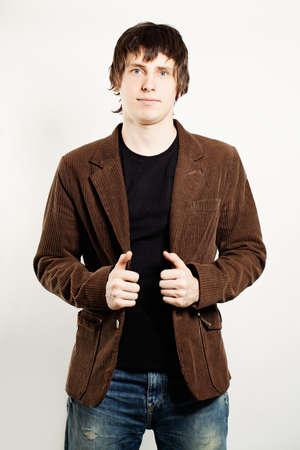 Handsome Man Wearing a Corduroy Coat Stockfoto