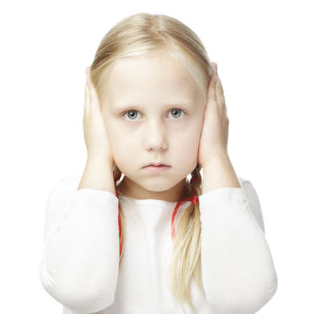 hands over ears: Child closed his hands over her ears and hears nothing Stock Photo