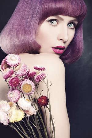 bob: Beautiful Woman with Purple Coloring Hair. Fashion Bob Haircut