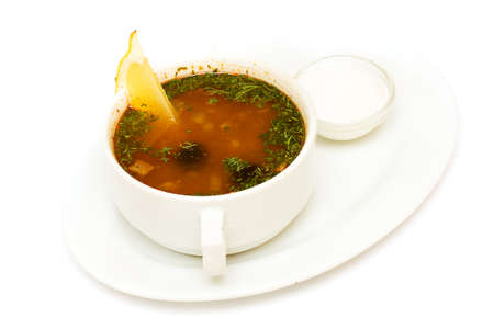 solyanka: Solyanka soup, russian cuisine on white