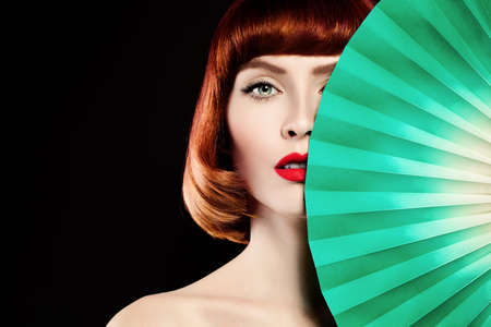 paper fan: Red Coloring Hair, Red Lips and Green Paper fan