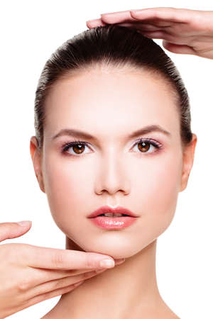 Perfect Face of a Beautiful Woman. Stock Photo