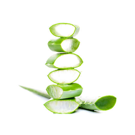 Aloe Vera Slices on White Background Standard-Bild