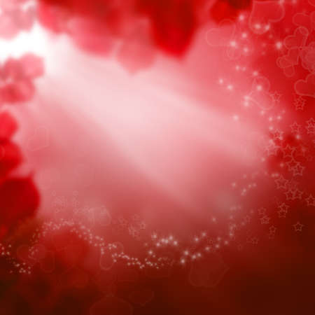 Red Valentines day background with hearts and stars Stock Photo