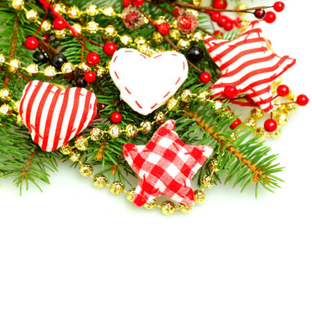 christmas decorations with white background: Christmas decorations border isolated on white background
