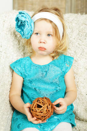 beautiful Child with blue tape Stock Photo