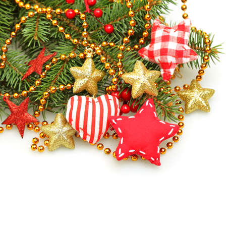 christmas decorations with white background: Christmas handmade design decorations on white background