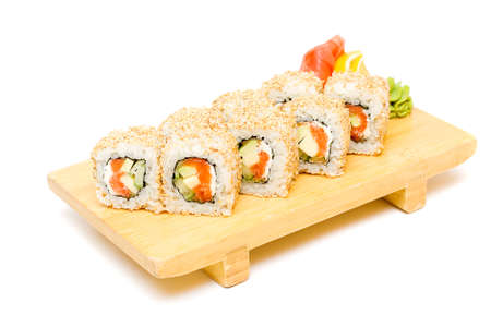 Sushi on a plate, traditional japanese food Stock Photo