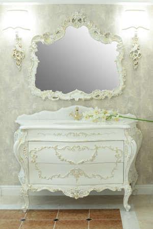 bathroom tiles: Royal bathroom interior - marble tiles and mirror
