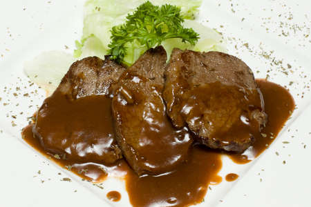 veal: Veal steak with sauce demiglas