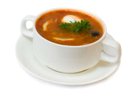solyanka: Solyanka soup isolated - russian and ukrainian cuisine