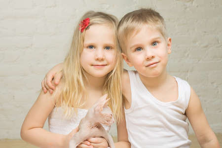 Portrait of beautiful children at home Standard-Bild