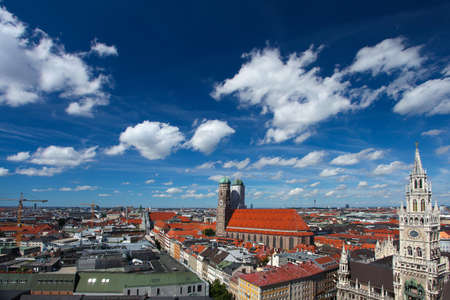 bayern old town: Munich, bavaria, germany. Red roofs and blue sky
