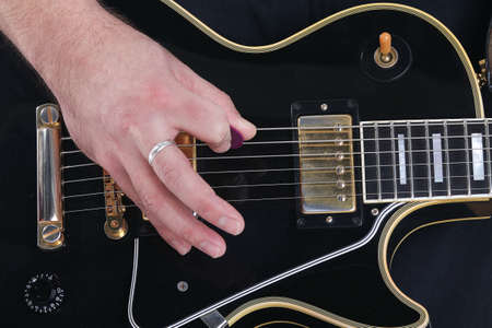 chord: Guitar, string and hand - music chord, concept