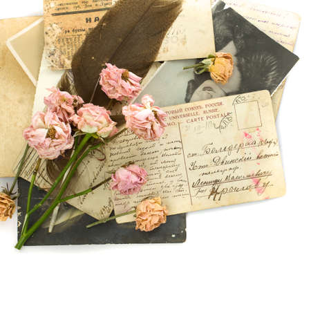 photo of object s: Vintage background - old postcards (1890-1925), photo, flowers