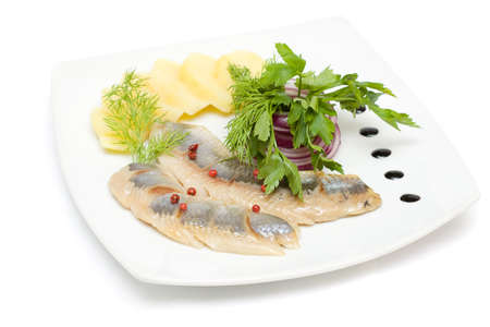Herring appetizer isolated on white