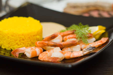 creole: Rice and shrimps - gourmet food Stock Photo