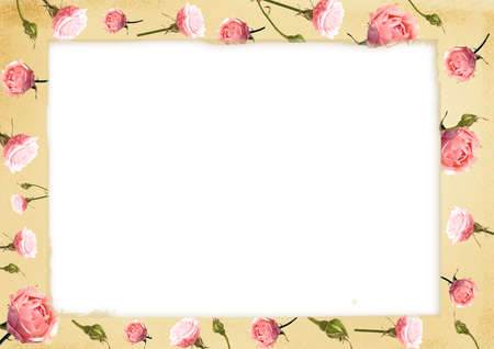 wedlock: Card for congratulation or invitation with delicate pink roses Stock Photo