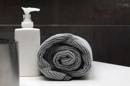 luxury bathroom interior - soap and towel